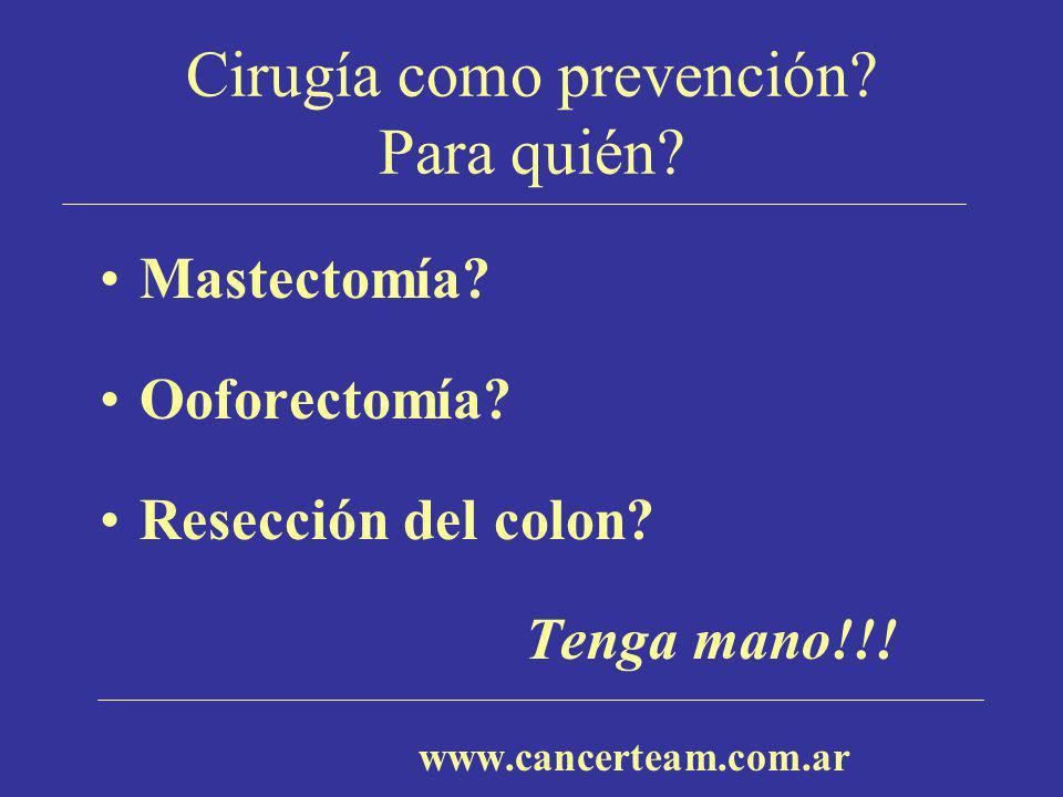 Cirugía como prevención? Para quién? Mastectomía? Ooforectomía? Resección del colon? Tenga mano!!! www.cancerteam.com.ar