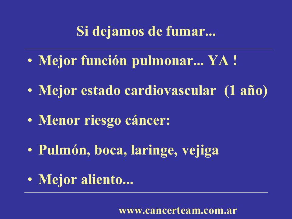 Si dejamos de fumar... Mejor función pulmonar... YA ! Mejor estado cardiovascular (1 año) Menor riesgo cáncer: Pulmón, boca, laringe, vejiga Mejor ali