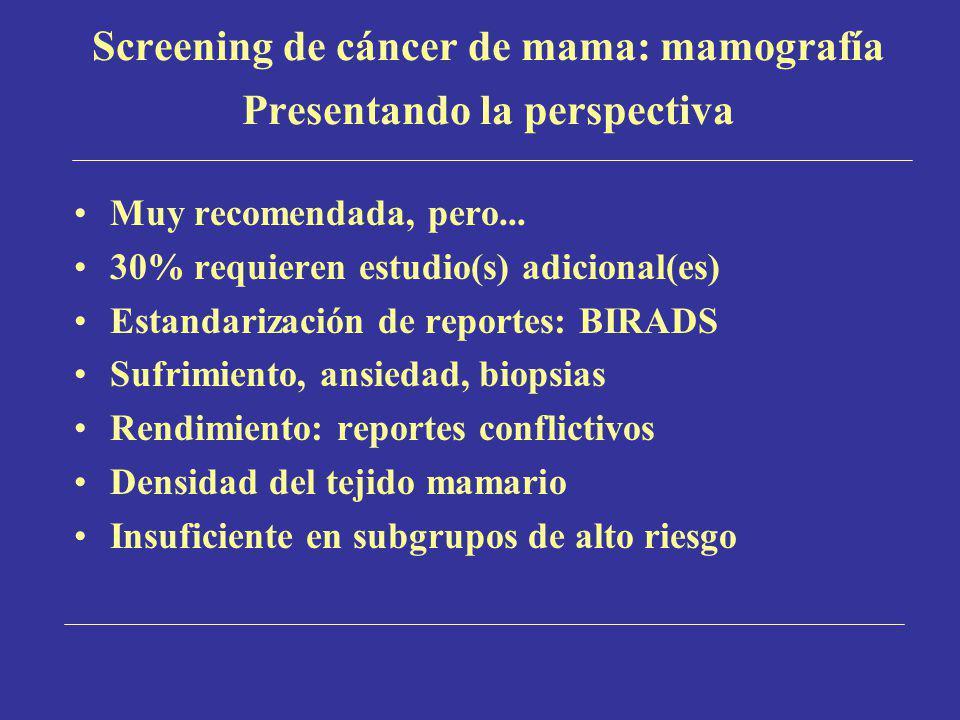 Screening de cáncer de mama: mamografía Presentando la perspectiva Muy recomendada, pero... 30% requieren estudio(s) adicional(es) Estandarización de