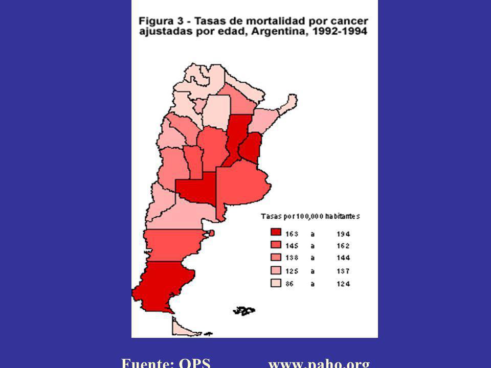 Mapa de mortalidad por cáncer.Argentina Razón de tasas (SMR) 1997-2001.