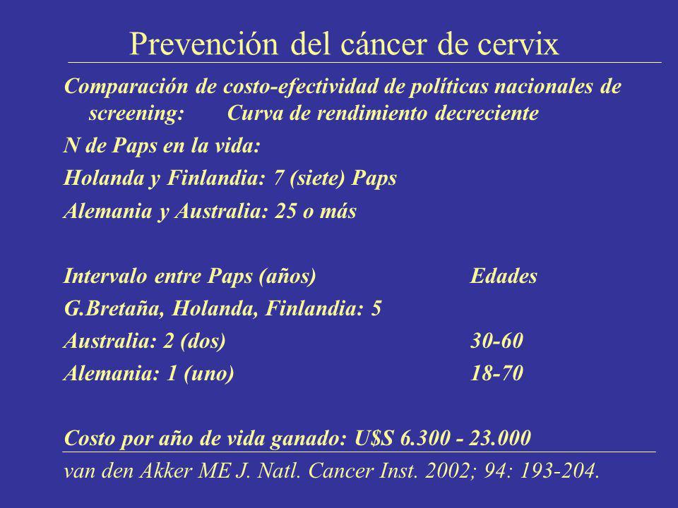 Prevención del cáncer de cervix Comparación de costo-efectividad de políticas nacionales de screening: Curva de rendimiento decreciente N de Paps en l