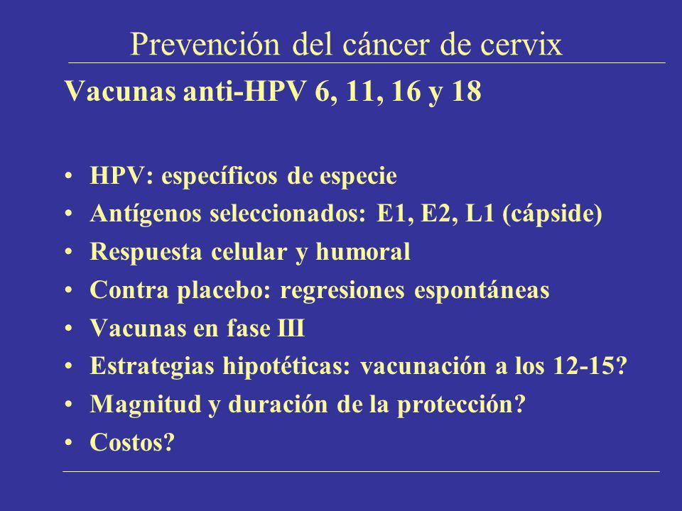 Prevención del cáncer de cervix Vacunas anti-HPV 6, 11, 16 y 18 HPV: específicos de especie Antígenos seleccionados: E1, E2, L1 (cápside) Respuesta ce
