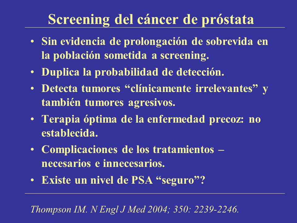 Screening del cáncer de próstata Sin evidencia de prolongación de sobrevida en la población sometida a screening. Duplica la probabilidad de detección