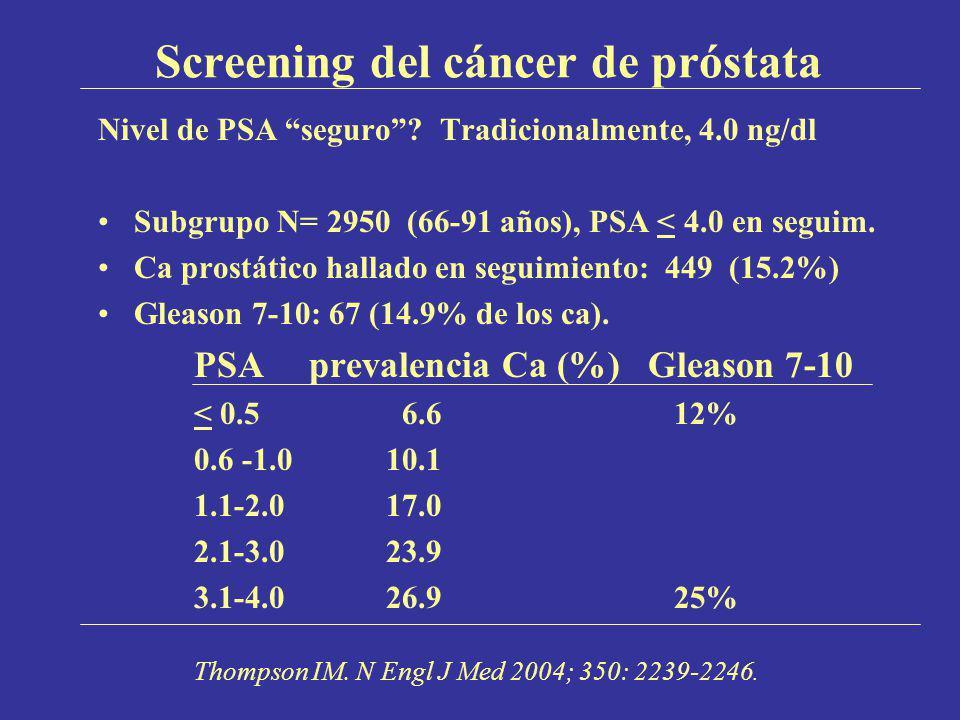 Screening del cáncer de próstata Nivel de PSA seguro? Tradicionalmente, 4.0 ng/dl Subgrupo N= 2950 (66-91 años), PSA < 4.0 en seguim. Ca prostático ha