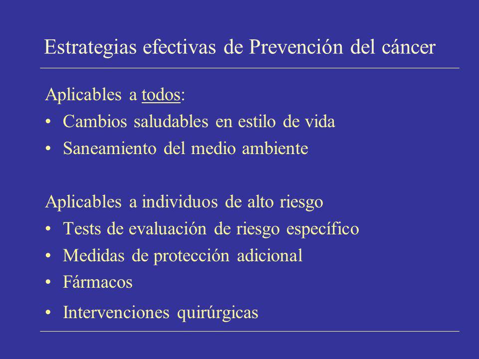 Estrategias efectivas de Prevención del cáncer Aplicables a todos: Cambios saludables en estilo de vida Saneamiento del medio ambiente Aplicables a in