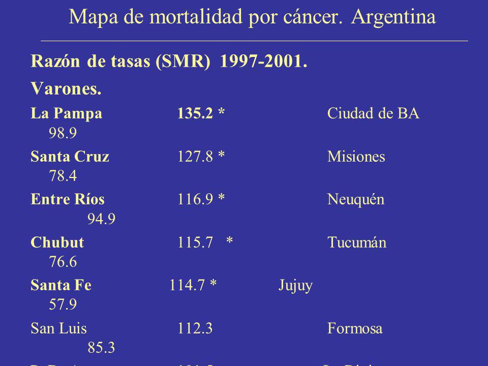 Mapa de mortalidad por cáncer. Argentina Razón de tasas (SMR) 1997-2001. Varones. La Pampa 135.2 * Ciudad de BA 98.9 Santa Cruz127.8 * Misiones 78.4 E