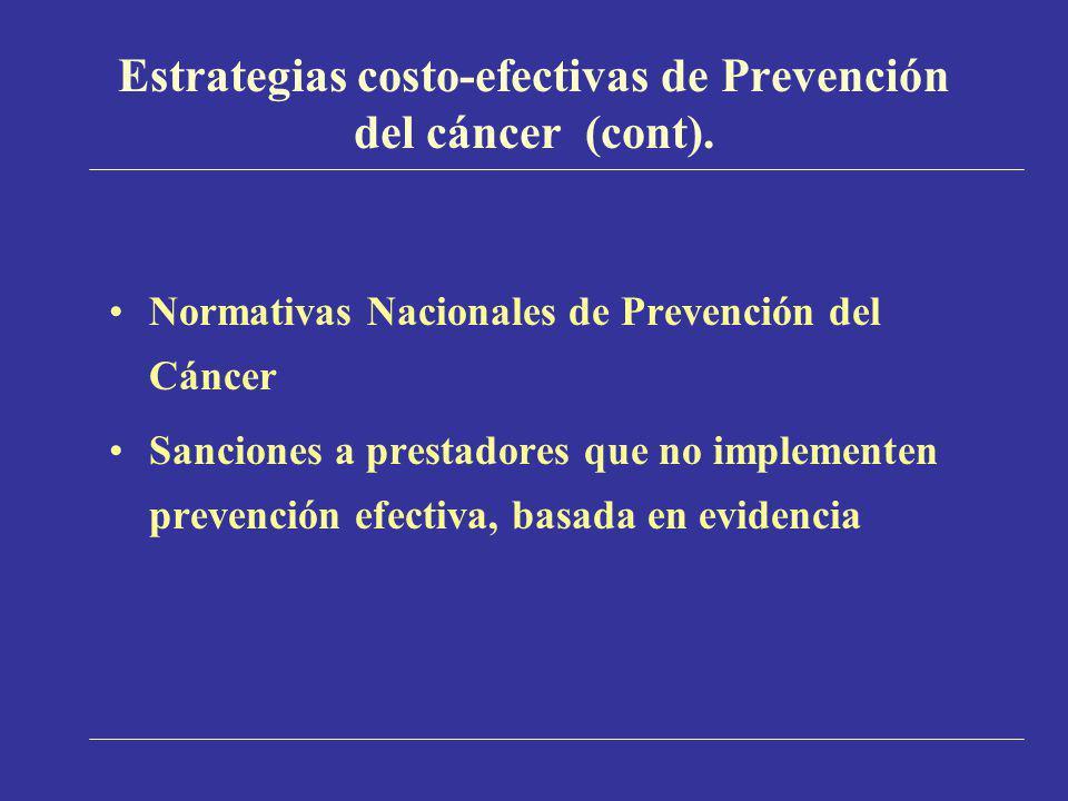 Estrategias costo-efectivas de Prevención del cáncer (cont). Normativas Nacionales de Prevención del Cáncer Sanciones a prestadores que no implementen