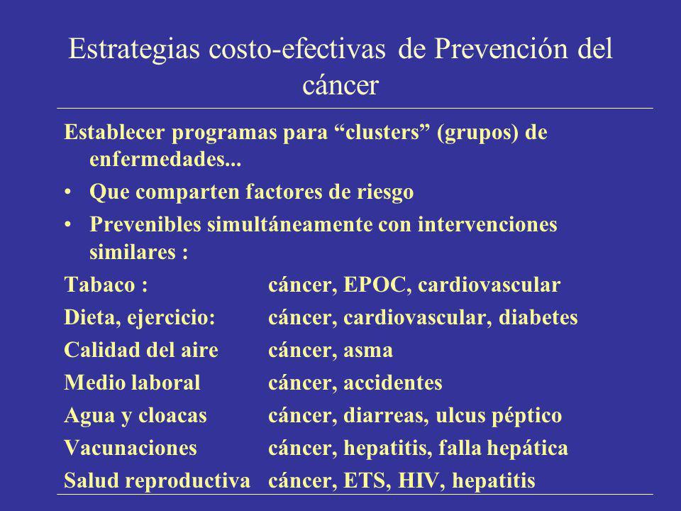 Estrategias costo-efectivas de Prevención del cáncer Establecer programas para clusters (grupos) de enfermedades... Que comparten factores de riesgo P