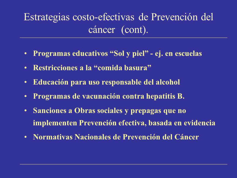 Estrategias costo-efectivas de Prevención del cáncer (cont). Programas educativos Sol y piel - ej. en escuelas Restricciones a la comida basura Educac