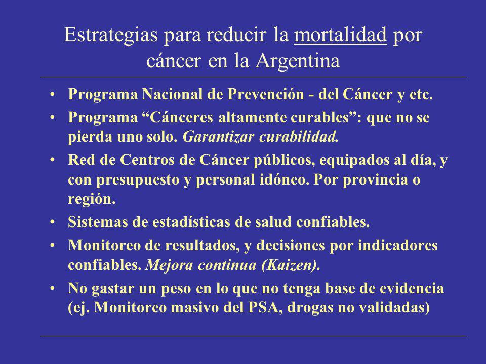 Estrategias para reducir la mortalidad por cáncer en la Argentina Programa Nacional de Prevención - del Cáncer y etc. Programa Cánceres altamente cura