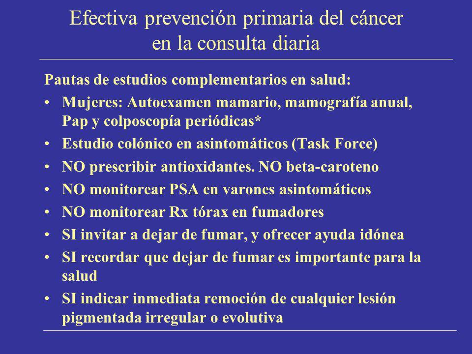 Efectiva prevención primaria del cáncer en la consulta diaria Pautas de estudios complementarios en salud: Mujeres: Autoexamen mamario, mamografía anu