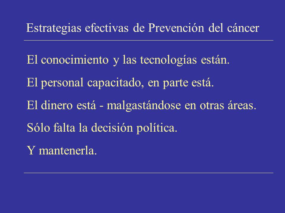 Estrategias efectivas de Prevención del cáncer El conocimiento y las tecnologías están. El personal capacitado, en parte está. El dinero está - malgas
