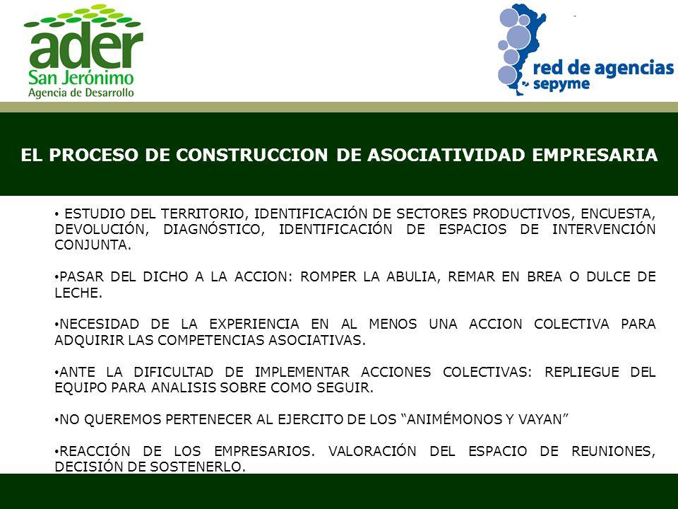 EL PROCESO DE CONSTRUCCION DE ASOCIATIVIDAD EMPRESARIA Santa Fe, abril de 2007 ESTUDIO DEL TERRITORIO, IDENTIFICACIÓN DE SECTORES PRODUCTIVOS, ENCUESTA, DEVOLUCIÓN, DIAGNÓSTICO, IDENTIFICACIÓN DE ESPACIOS DE INTERVENCIÓN CONJUNTA.