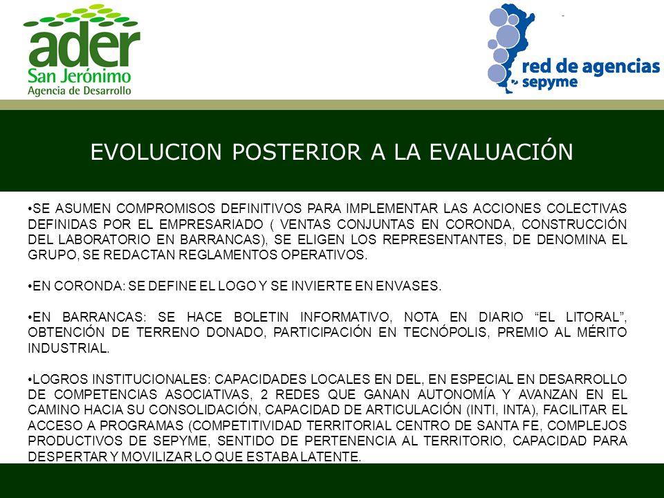 EVOLUCION POSTERIOR A LA EVALUACIÓN Santa Fe, abril de 2007 SE ASUMEN COMPROMISOS DEFINITIVOS PARA IMPLEMENTAR LAS ACCIONES COLECTIVAS DEFINIDAS POR EL EMPRESARIADO ( VENTAS CONJUNTAS EN CORONDA, CONSTRUCCIÓN DEL LABORATORIO EN BARRANCAS), SE ELIGEN LOS REPRESENTANTES, DE DENOMINA EL GRUPO, SE REDACTAN REGLAMENTOS OPERATIVOS.