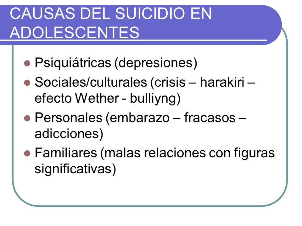 CAUSAS DEL SUICIDIO EN ADOLESCENTES Psiquiátricas (depresiones) Sociales/culturales (crisis – harakiri – efecto Wether - bulliyng) Personales (embaraz