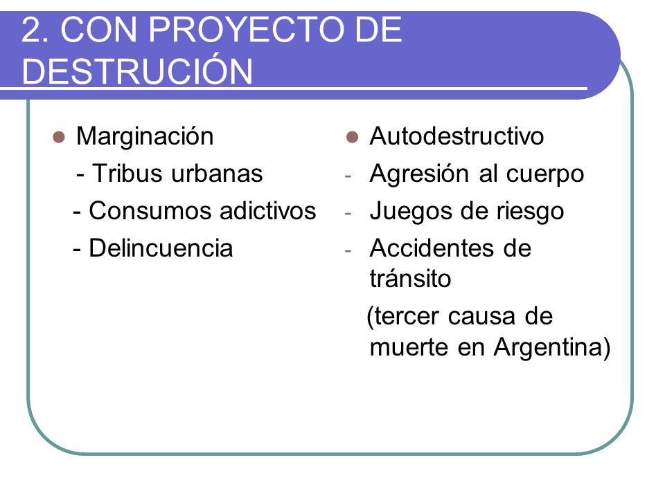 2. CON PROYECTO DE DESTRUCIÓN Marginación - Tribus urbanas - Consumos adictivos - Delincuencia Autodestructivo - Agresión al cuerpo - Juegos de riesgo