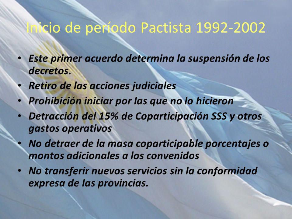 Inicio de período Pactista 1992-2002 Este primer acuerdo determina la suspensión de los decretos. Retiro de las acciones judiciales Prohibición inicia