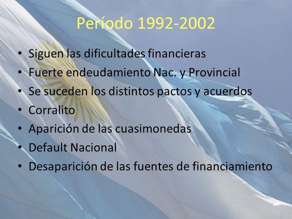 Período 1992-2002 Siguen las dificultades financieras Fuerte endeudamiento Nac. y Provincial Se suceden los distintos pactos y acuerdos Corralito Apar