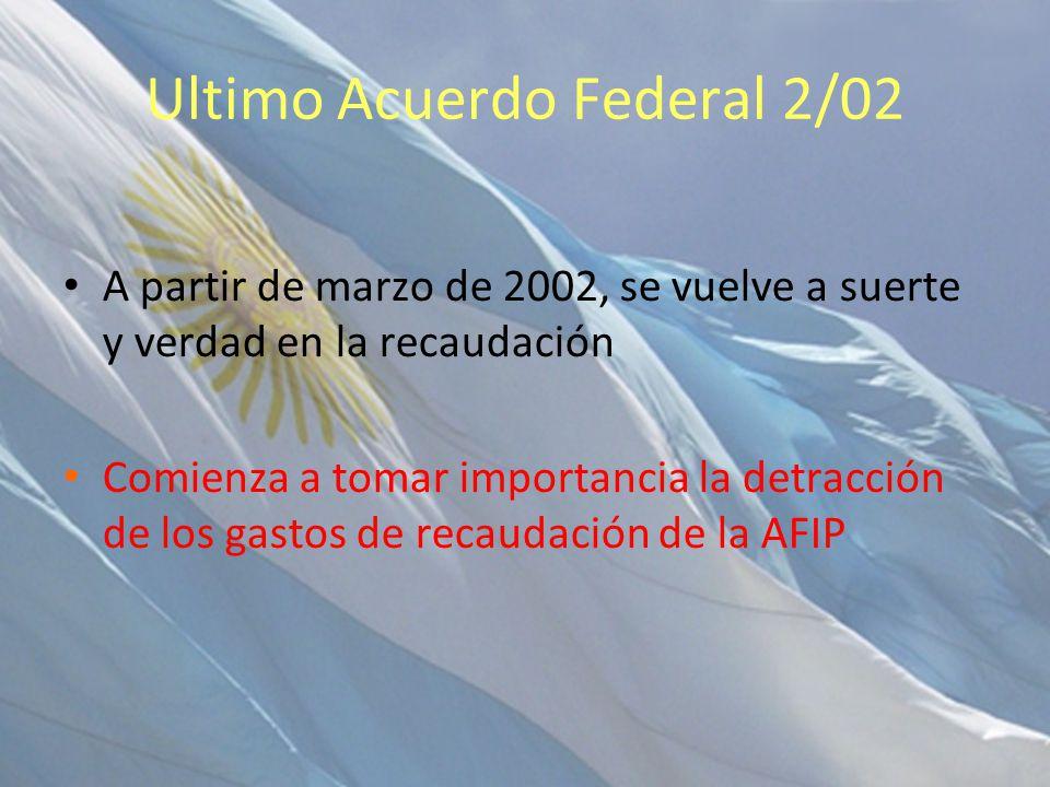 Ultimo Acuerdo Federal 2/02 A partir de marzo de 2002, se vuelve a suerte y verdad en la recaudación Comienza a tomar importancia la detracción de los gastos de recaudación de la AFIP