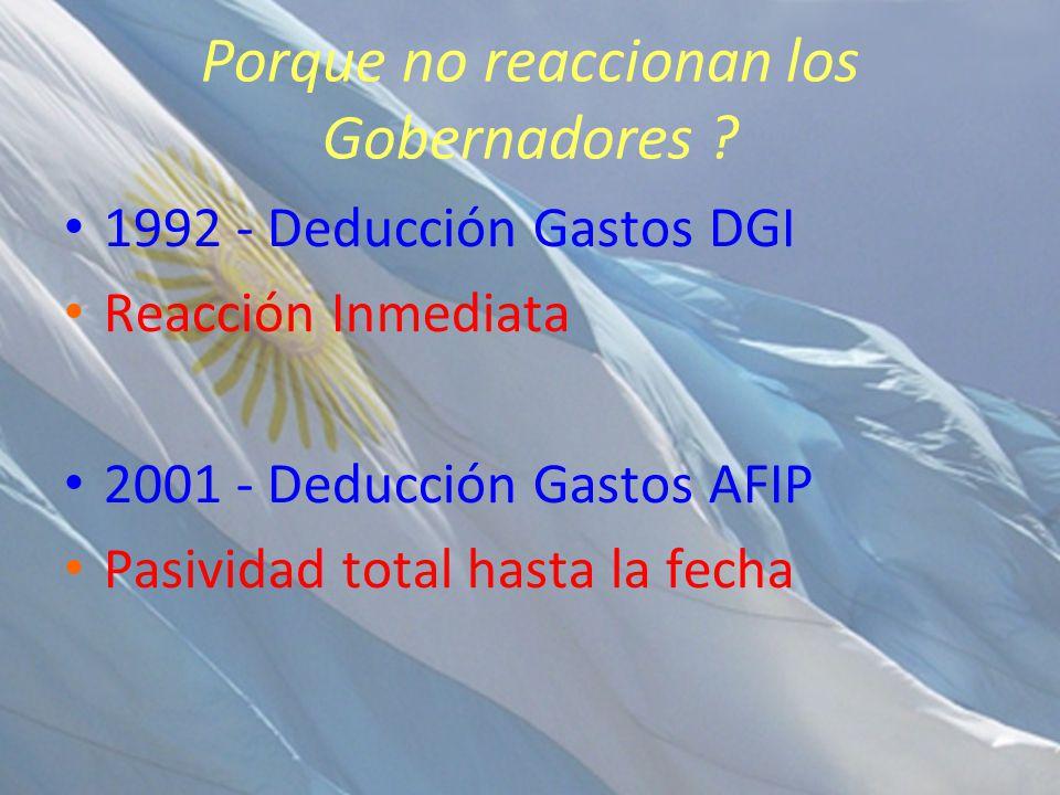 Porque no reaccionan los Gobernadores ? 1992 - Deducción Gastos DGI Reacción Inmediata 2001 - Deducción Gastos AFIP Pasividad total hasta la fecha