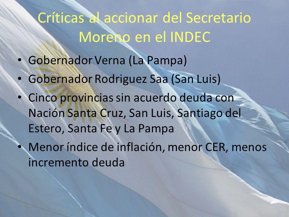 Críticas al accionar del Secretario Moreno en el INDEC Gobernador Verna (La Pampa) Gobernador Rodriguez Saa (San Luis) Cinco provincias sin acuerdo de