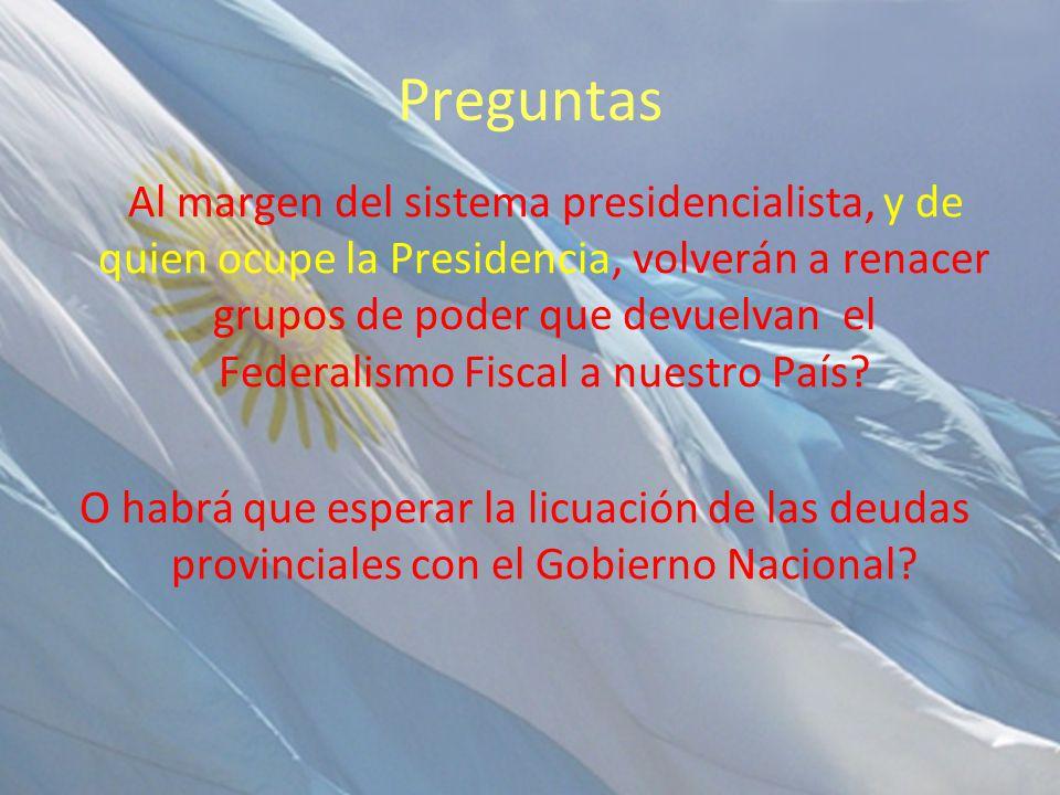 Preguntas Al margen del sistema presidencialista, y de quien ocupe la Presidencia, volverán a renacer grupos de poder que devuelvan el Federalismo Fiscal a nuestro País.