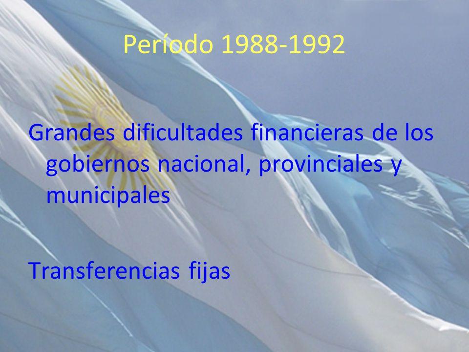 Período 1988-1992 Grandes dificultades financieras de los gobiernos nacional, provinciales y municipales Transferencias fijas