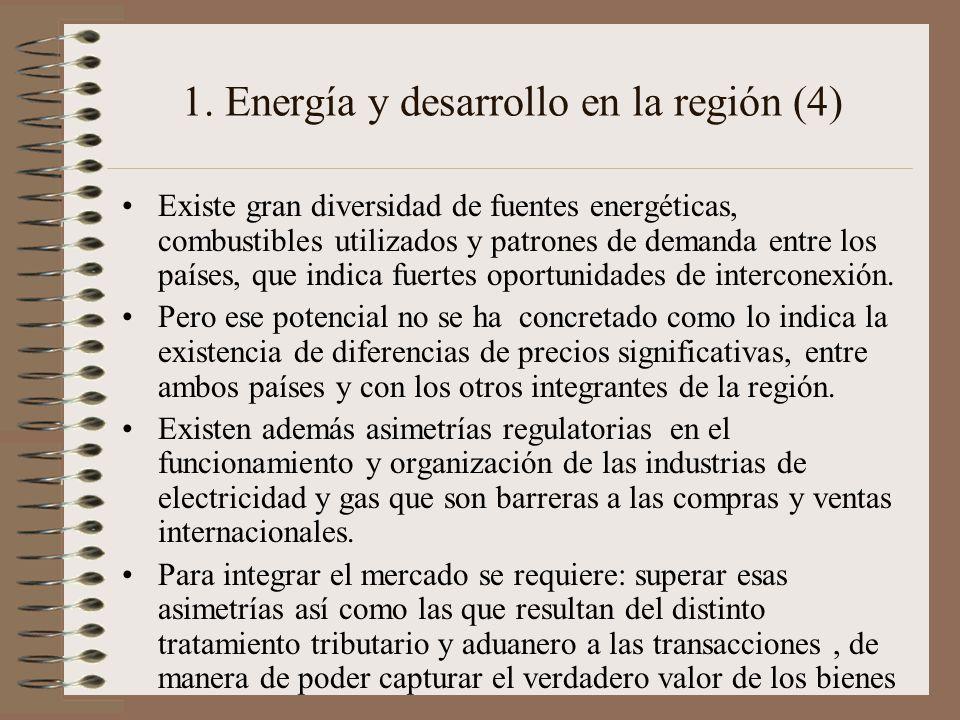 1. Energía y desarrollo en la región (4) Existe gran diversidad de fuentes energéticas, combustibles utilizados y patrones de demanda entre los países