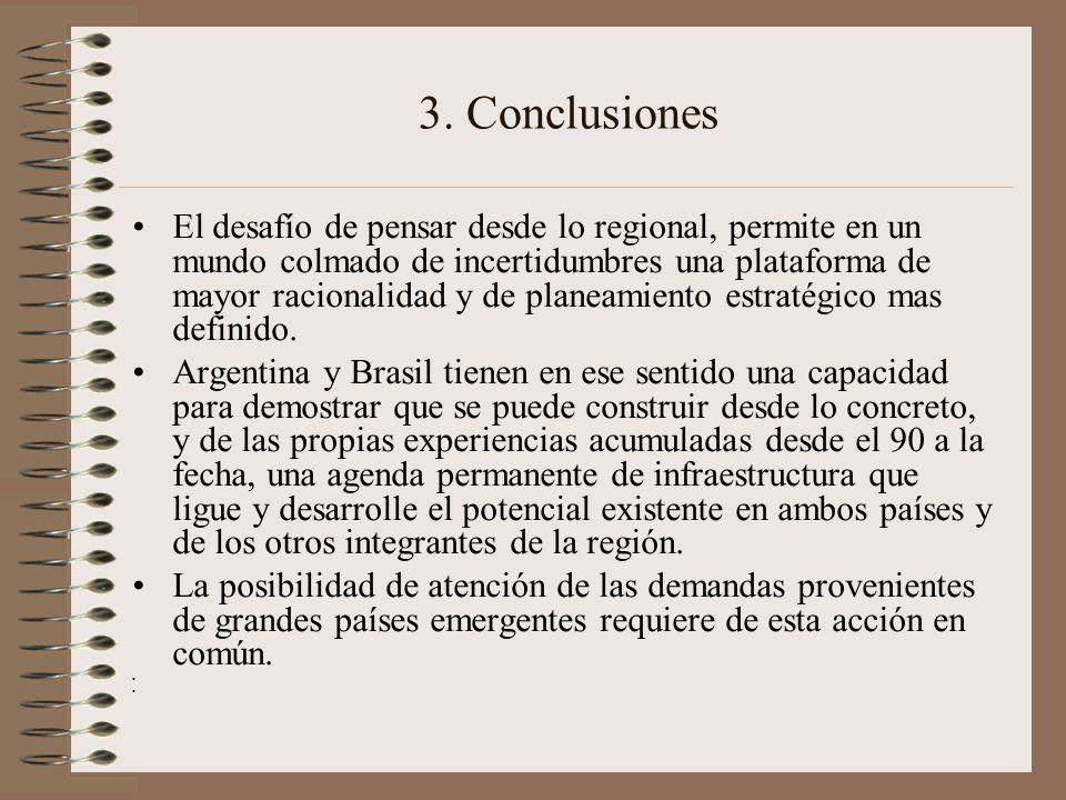 3. Conclusiones El desafío de pensar desde lo regional, permite en un mundo colmado de incertidumbres una plataforma de mayor racionalidad y de planea