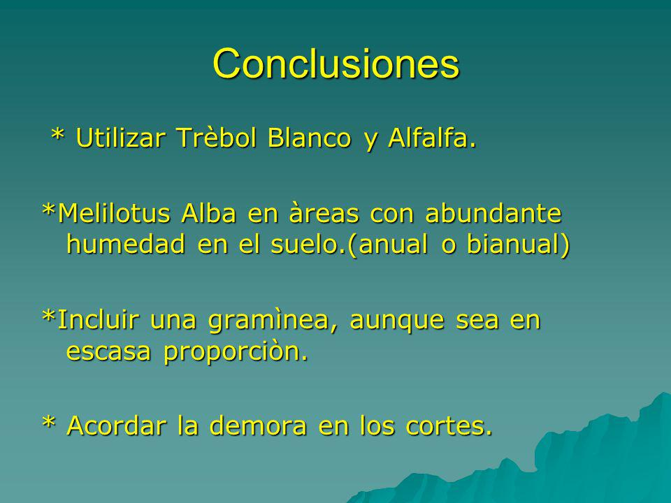Conclusiones * Utilizar Trèbol Blanco y Alfalfa. * Utilizar Trèbol Blanco y Alfalfa. *Melilotus Alba en àreas con abundante humedad en el suelo.(anual