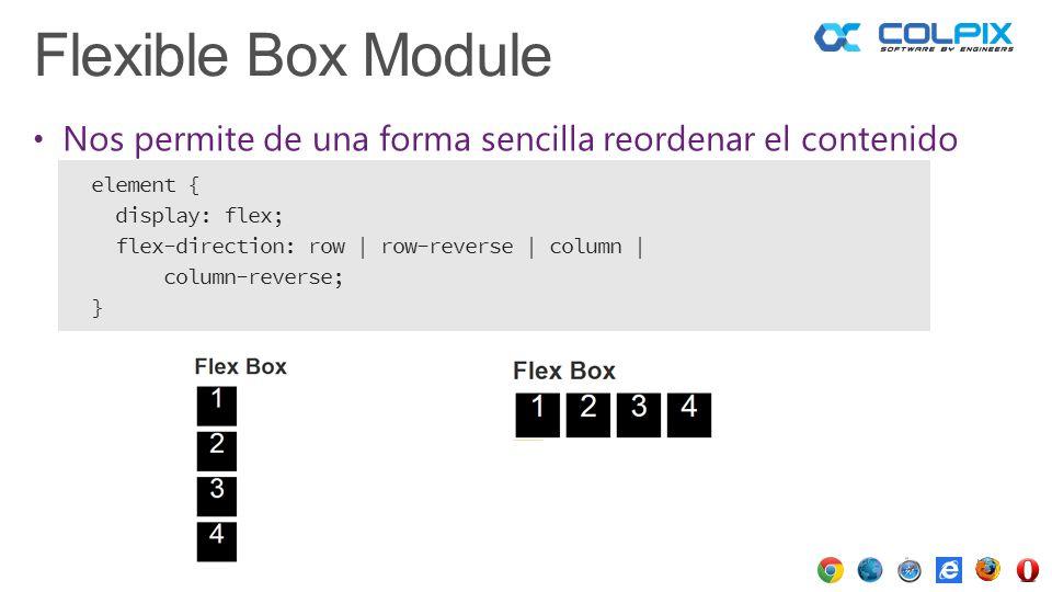 Flexible Box Module Nos permite de una forma sencilla reordenar el contenido