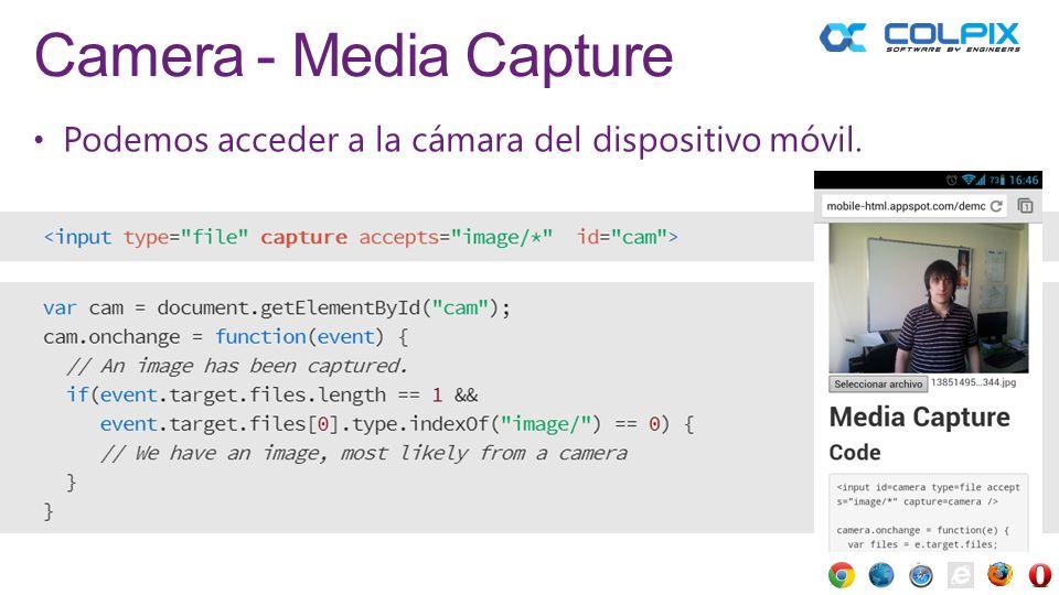 Camera - Media Capture Podemos acceder a la cámara del dispositivo móvil.