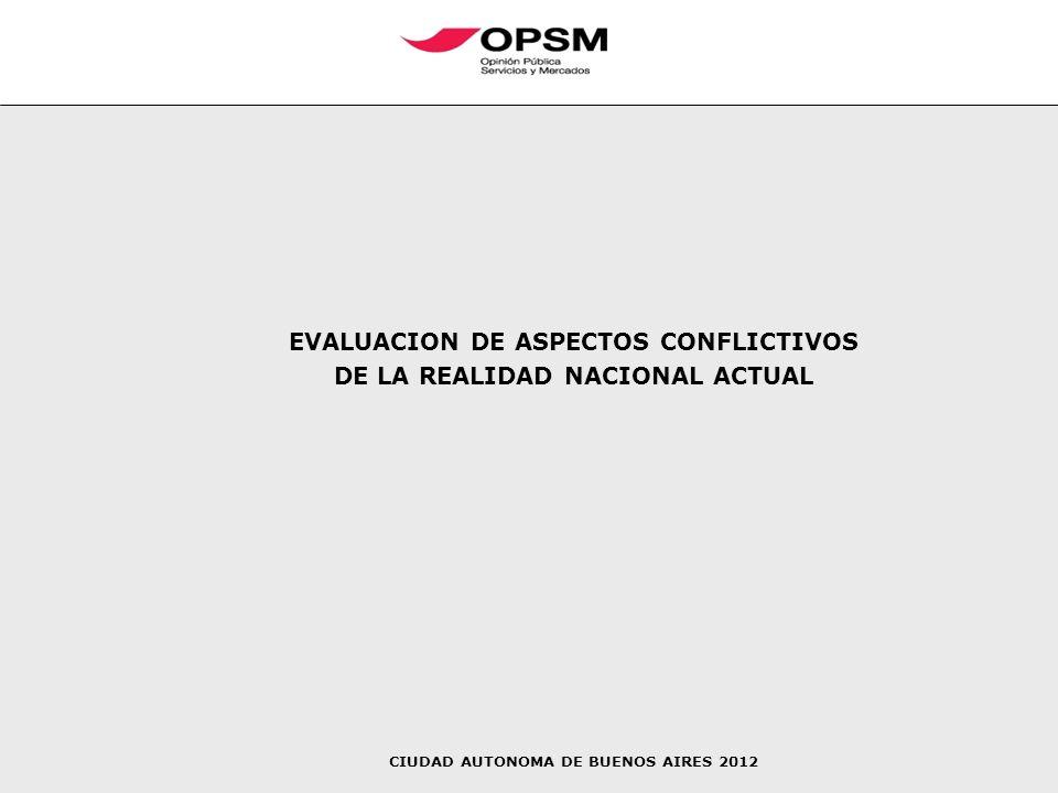 EVALUACION DE ASPECTOS CONFLICTIVOS DE LA REALIDAD NACIONAL ACTUAL CIUDAD AUTONOMA DE BUENOS AIRES 2012