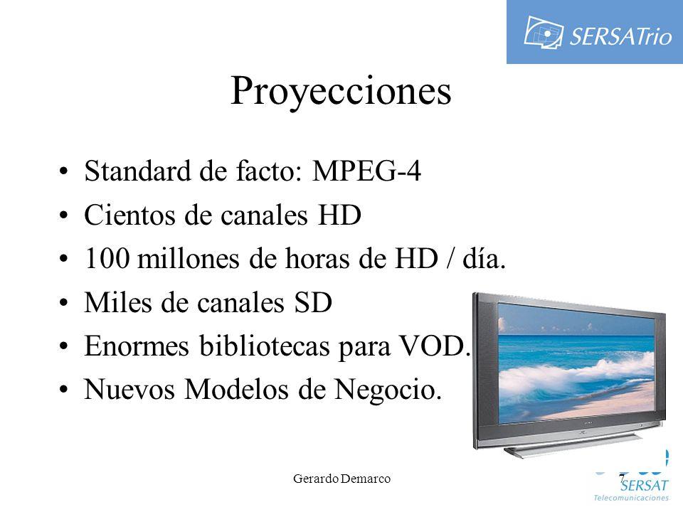 Gerardo Demarco7 Proyecciones Standard de facto: MPEG-4 Cientos de canales HD 100 millones de horas de HD / día.