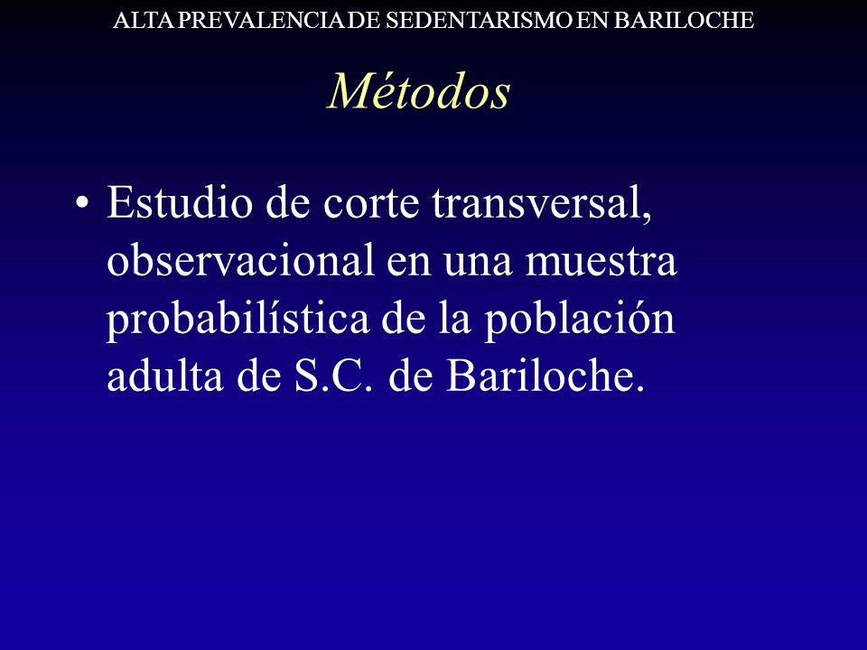 Métodos Estudio de corte transversal, observacional en una muestra probabilística de la población adulta de S.C. de Bariloche. ALTA PREVALENCIA DE SED