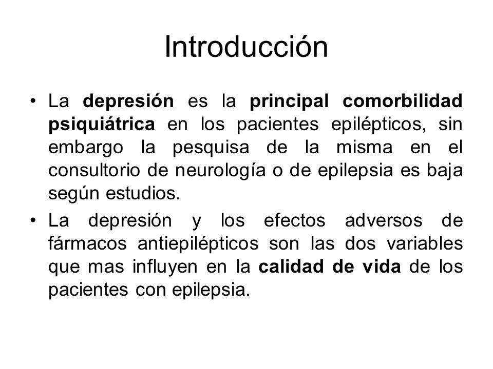 Introducción La depresión es la principal comorbilidad psiquiátrica en los pacientes epilépticos, sin embargo la pesquisa de la misma en el consultori
