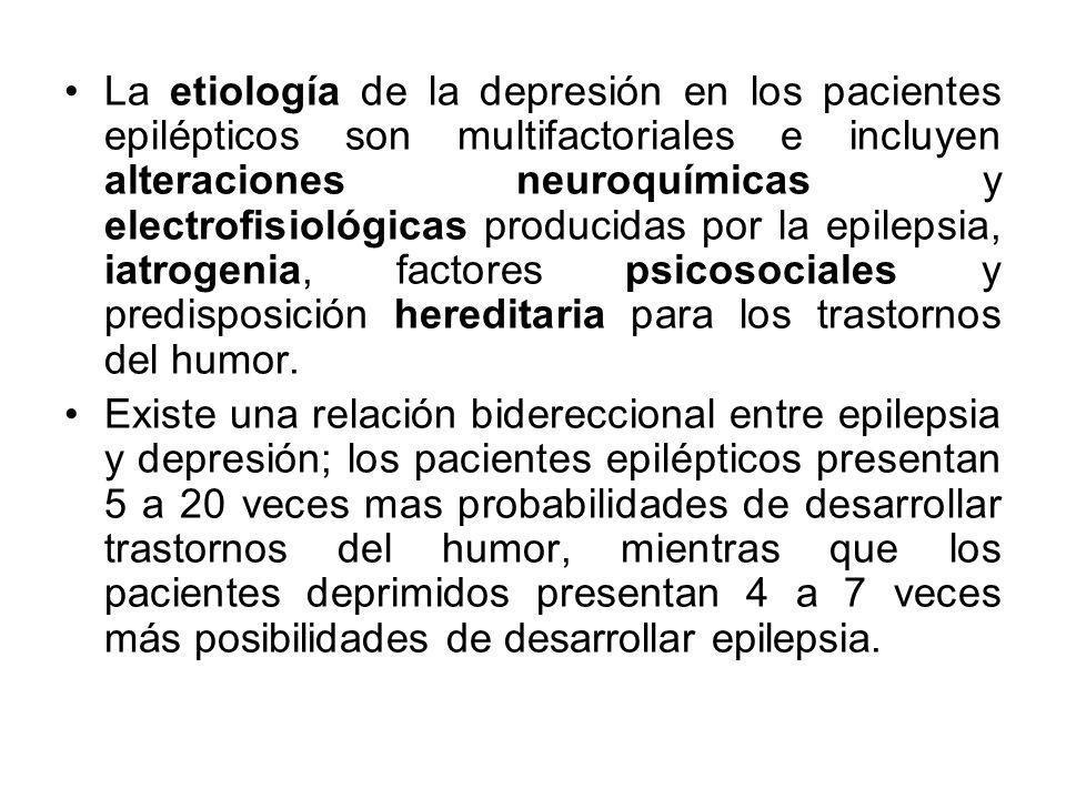 La etiología de la depresión en los pacientes epilépticos son multifactoriales e incluyen alteraciones neuroquímicas y electrofisiológicas producidas