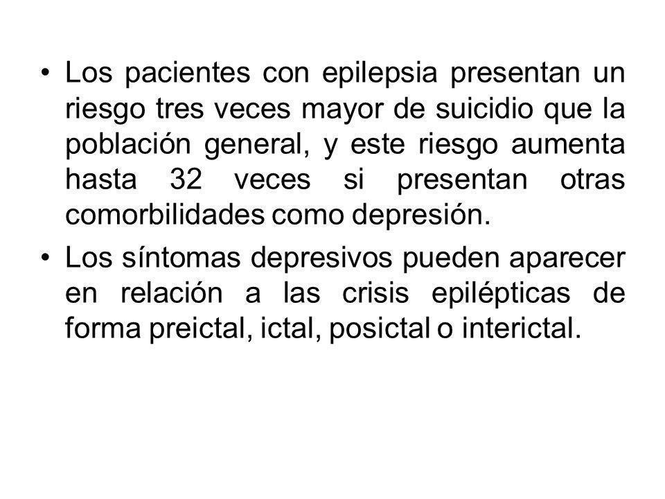 Los pacientes con epilepsia presentan un riesgo tres veces mayor de suicidio que la población general, y este riesgo aumenta hasta 32 veces si present