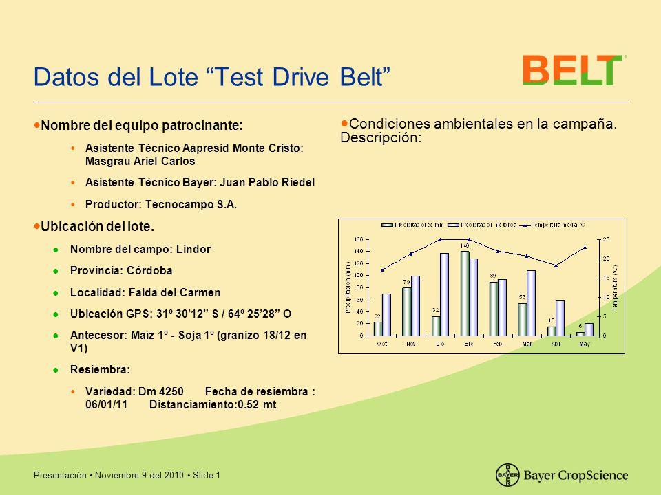 Presentación Noviembre 9 del 2010 Slide 1 Datos del Lote Test Drive Belt Nombre del equipo patrocinante: Asistente Técnico Aapresid Monte Cristo: Masgrau Ariel Carlos Asistente Técnico Bayer: Juan Pablo Riedel Productor: Tecnocampo S.A.