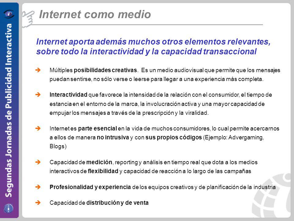 Internet como medio Internet aporta además muchos otros elementos relevantes, sobre todo la interactividad y la capacidad transaccional Múltiples posibilidades creativas.