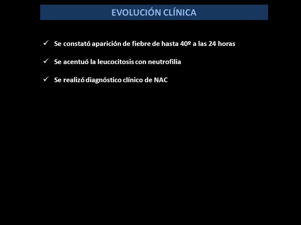 EVOLUCIÓN CLÍNICA Se constató aparición de fiebre de hasta 40º a las 24 horas Se acentuó la leucocitosis con neutrofilia Se realizó diagnóstico clínico de NAC