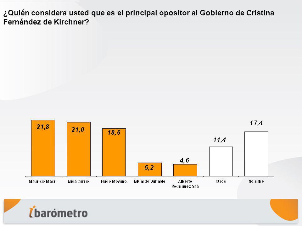 ¿Quién considera usted que es el principal opositor al Gobierno de Cristina Fernández de Kirchner?