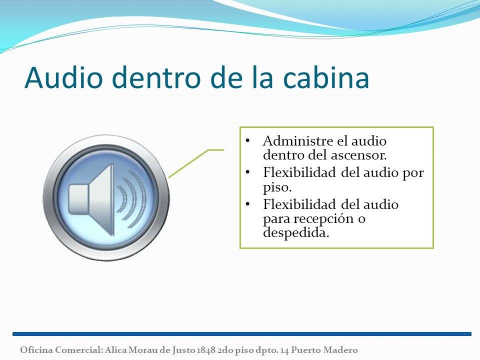 Audio dentro de la cabina Administre el audio dentro del ascensor. Flexibilidad del audio por piso. Flexibilidad del audio para recepción o despedida.