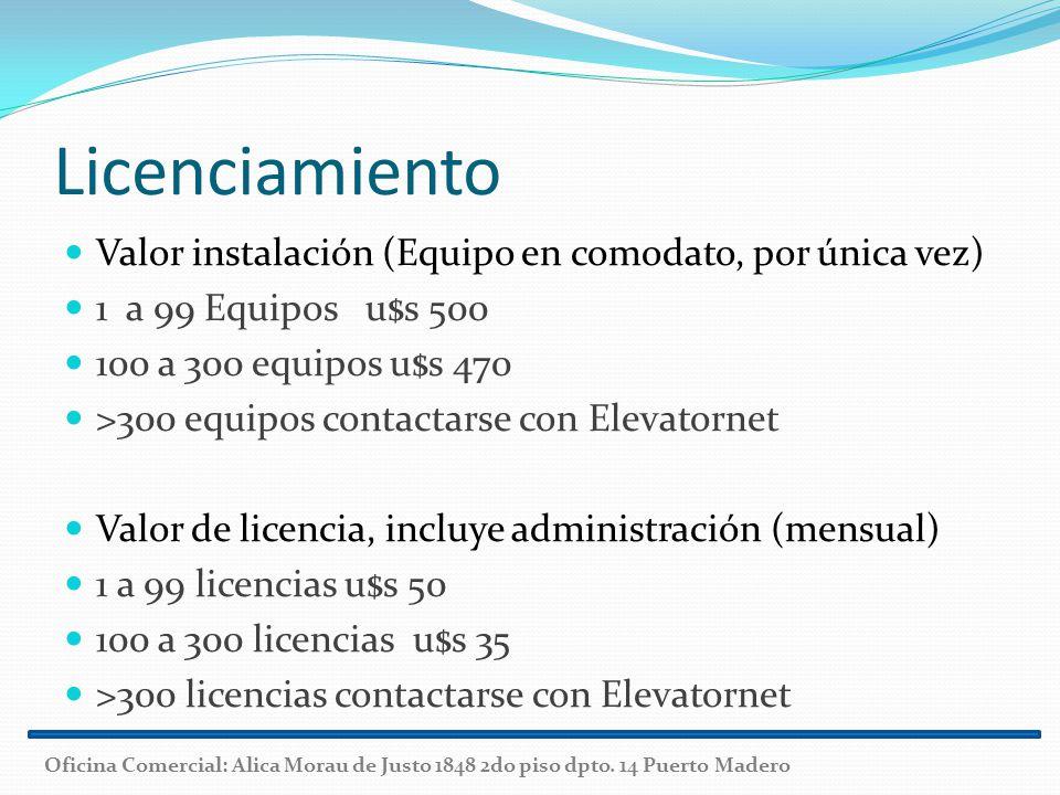 Licenciamiento Valor instalación (Equipo en comodato, por única vez) 1 a 99 Equipos u$s 500 100 a 300 equipos u$s 470 >300 equipos contactarse con Ele