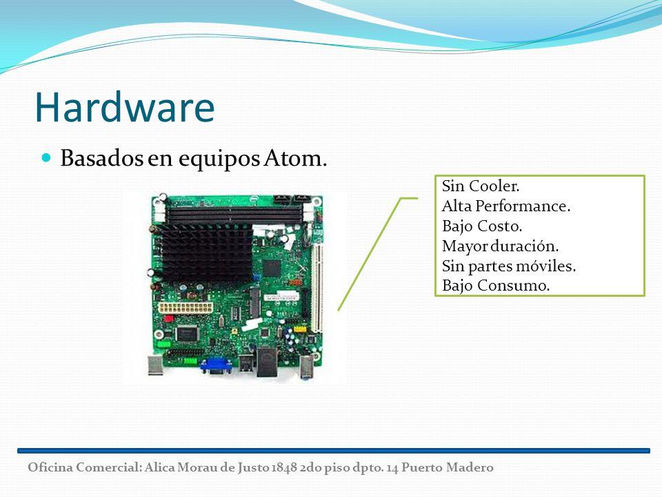 Hardware Basados en equipos Atom. Sin Cooler. Alta Performance. Bajo Costo. Mayor duración. Sin partes móviles. Bajo Consumo. Oficina Comercial: Alica
