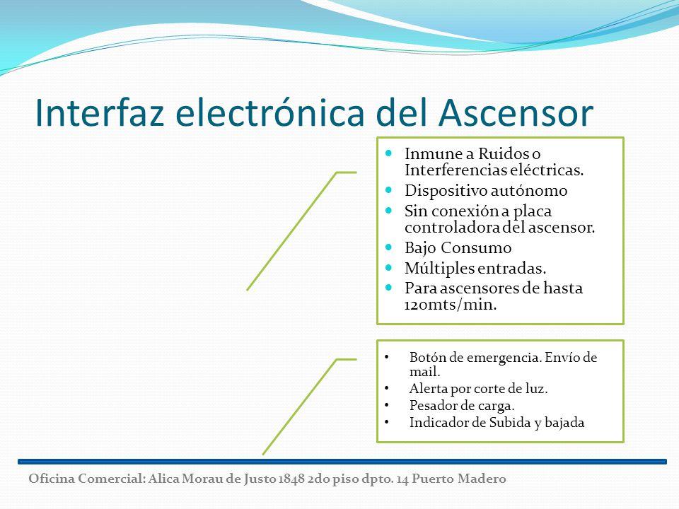 Interfaz electrónica del Ascensor Inmune a Ruidos o Interferencias eléctricas. Dispositivo autónomo Sin conexión a placa controladora del ascensor. Ba