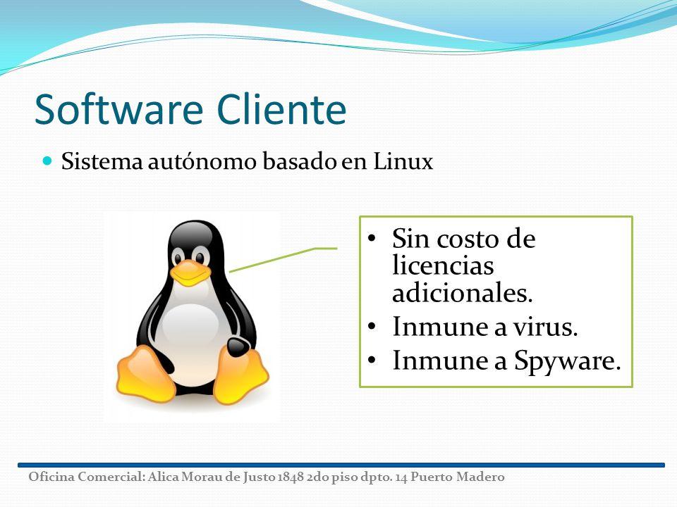 Software Cliente Sistema autónomo basado en Linux Sin costo de licencias adicionales. Inmune a virus. Inmune a Spyware. Oficina Comercial: Alica Morau