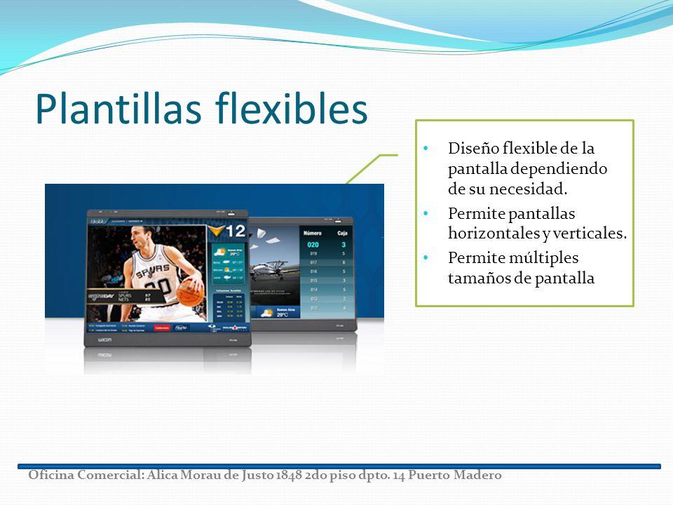 Plantillas flexibles Diseño flexible de la pantalla dependiendo de su necesidad. Permite pantallas horizontales y verticales. Permite múltiples tamaño