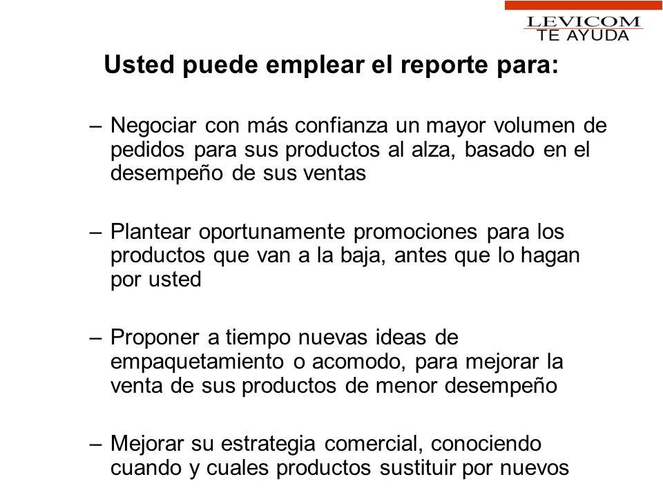 Usted puede emplear el reporte para: –Negociar con más confianza un mayor volumen de pedidos para sus productos al alza, basado en el desempeño de sus