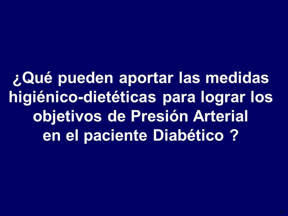 14 ¿Qué pueden aportar las medidas higiénico-dietéticas para lograr los objetivos de Presión Arterial en el paciente Diabético